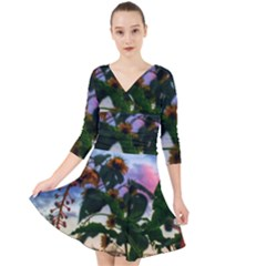 Sunflowers And Wild Weeds Quarter Sleeve Front Wrap Dress by okhismakingart