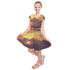 Early Sunset Kids  Short Sleeve Dress by okhismakingart