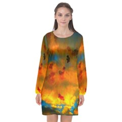 Tie Dye Sky Long Sleeve Chiffon Shift Dress