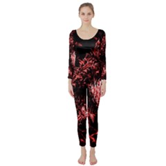 Red Thistle Long Sleeve Catsuit by okhismakingart