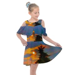 Sunrise And Fir Tree Kids  Shoulder Cutout Chiffon Dress by okhismakingart