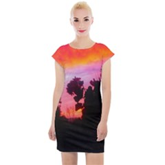 Sunset And Geraniums Cap Sleeve Bodycon Dress by okhismakingart