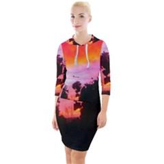 Sunset And Geraniums Quarter Sleeve Hood Bodycon Dress by okhismakingart