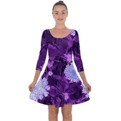 Queen Anne s Lace With Purple Leaves Quarter Sleeve Skater Dress by okhismakingart