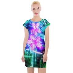 Glowing Flowers Cap Sleeve Bodycon Dress by okhismakingart