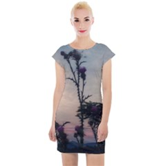 Hazy Thistles Cap Sleeve Bodycon Dress by okhismakingart