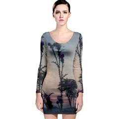 Hazy Thistles Long Sleeve Bodycon Dress by okhismakingart