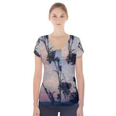Hazy Thistles Short Sleeve Front Detail Top by okhismakingart