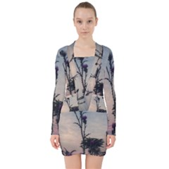 Hazy Thistles V Neck Bodycon Long Sleeve Dress by okhismakingart