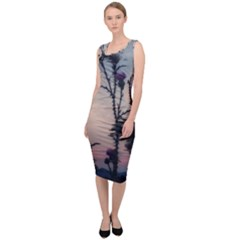 Hazy Thistles Sleeveless Pencil Dress by okhismakingart