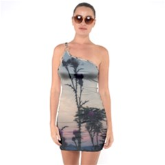 Hazy Thistles One Soulder Bodycon Dress by okhismakingart