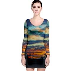 Blue Sunset Long Sleeve Bodycon Dress by okhismakingart