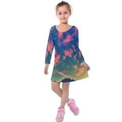 Brushstroke Skies Kids  Long Sleeve Velvet Dress by okhismakingart
