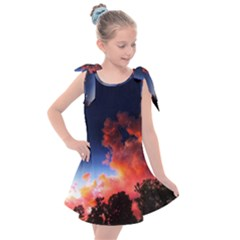 Deep Blue Sunset Kids  Tie Up Tunic Dress by okhismakingart