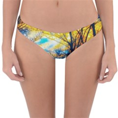 Yellow And Blue Forest Reversible Hipster Bikini Bottoms by okhismakingart
