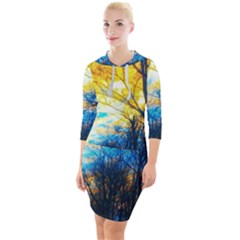 Yellow And Blue Forest Quarter Sleeve Hood Bodycon Dress by okhismakingart
