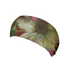Grainy Green Flowers Yoga Headband
