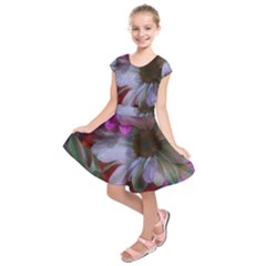 Grainy Green Flower (with Blue Tint) Kids  Short Sleeve Dress by okhismakingart