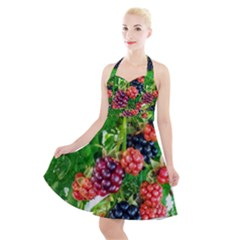 Blackberries Halter Party Swing Dress  by okhismakingart