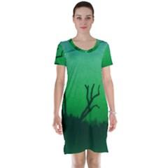 Creepy Green Scene Short Sleeve Nightdress by okhismakingart