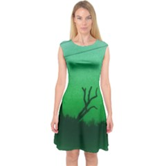 Creepy Green Scene Capsleeve Midi Dress by okhismakingart