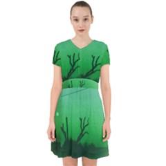 Creepy Green Scene Adorable In Chiffon Dress by okhismakingart