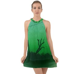 Creepy Green Scene Halter Tie Back Chiffon Dress by okhismakingart