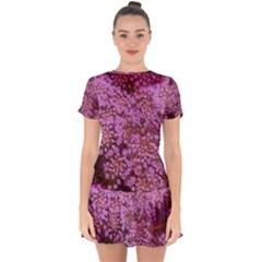Pink Queen Anne s Lace Landscape Drop Hem Mini Chiffon Dress by okhismakingart
