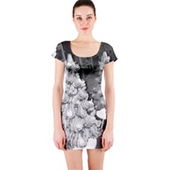 Black And White Christmas Short Sleeve Bodycon Dress