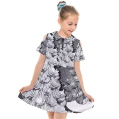 Black And White Christmas Kids  Short Sleeve Shirt Dress by okhismakingart