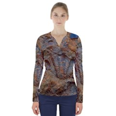 Shell Fossil V Neck Long Sleeve Top by okhismakingart