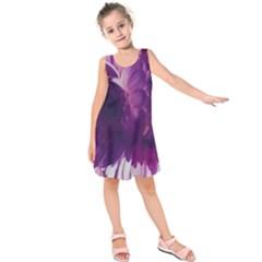 Blue Glowing Flowers Kids  Sleeveless Dress by okhismakingart