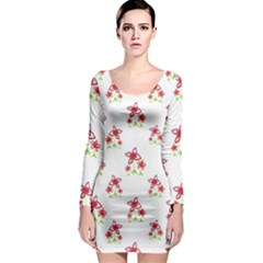 Cute Floral Drawing Motif Pattern Long Sleeve Bodycon Dress by dflcprintsclothing