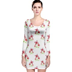 Cute Floral Drawing Motif Pattern Long Sleeve Velvet Bodycon Dress by dflcprintsclothing