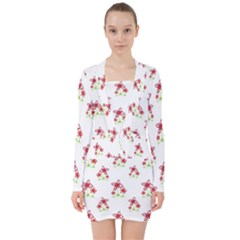 Cute Floral Drawing Motif Pattern V Neck Bodycon Long Sleeve Dress by dflcprintsclothing