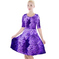 Dark Purple Closing Queen Annes Lace Quarter Sleeve A Line Dress by okhismakingart