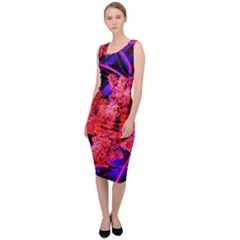 Red And Blue Sideways Sumac Sleeveless Pencil Dress by okhismakingart