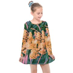 Green And Gold Sideways Sumac Kids  Long Sleeve Dress by okhismakingart