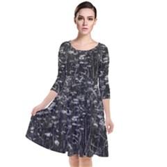 Black And White Queen Anne s Lace Hillside Quarter Sleeve Waist Band Dress by okhismakingart