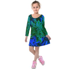 Blue And Green Sumac Bloom Kids  Long Sleeve Velvet Dress by okhismakingart