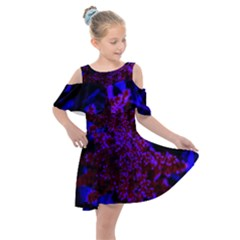 Maroon And Blue Sumac Bloom Kids  Shoulder Cutout Chiffon Dress by okhismakingart