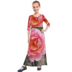Pink Rose Kids  Quarter Sleeve Maxi Dress by okhismakingart