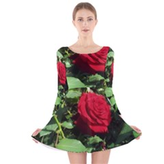 Deep Red Rose Long Sleeve Velvet Skater Dress by okhismakingart