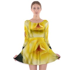 Pale Yellow Rose Long Sleeve Skater Dress by okhismakingart