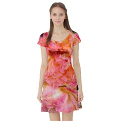 Folded Pink And Orange Rose Short Sleeve Skater Dress by okhismakingart