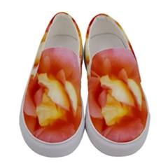 Light Orange And Pink Rose Women s Canvas Slip Ons