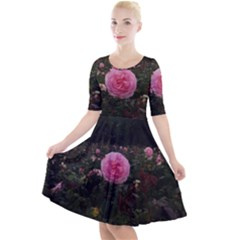 Pink Rose Field Ii Quarter Sleeve A Line Dress by okhismakingart
