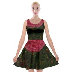 Round Pink Rose Velvet Skater Dress by okhismakingart