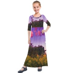 Purple Afternoon Kids  Quarter Sleeve Maxi Dress by okhismakingart