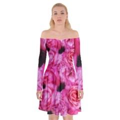 Pink Roses Off Shoulder Skater Dress by okhismakingart